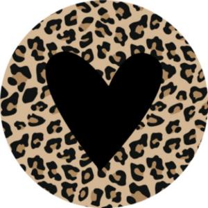 Sticker Hartje panter met zwart