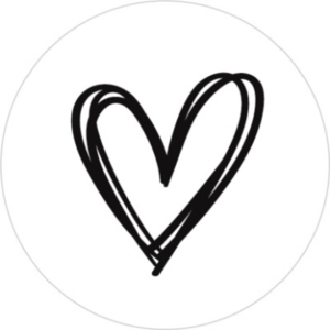 Sticker Heart white/black