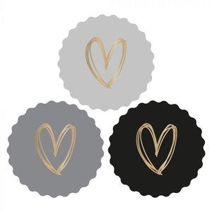 Stickers Hearts gold/dark