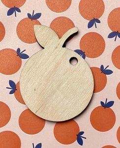 Cadeaulabel sinaasappel (hout)
