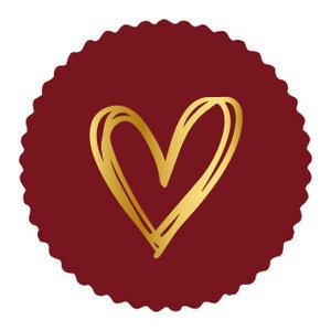 Sticker Golden heart bordeaux (zegel)