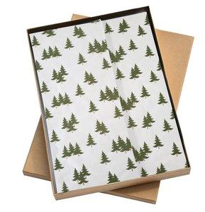 Vloeipapier Kerstboompjes groen/goud