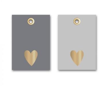 Cadeaulabel Heart-Eyelet Gold/dark grey