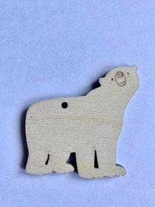 Cadeaulabel ijsbeer (hout)