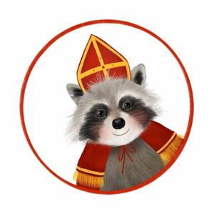 Sticker Wasbeer met mijter (klein)