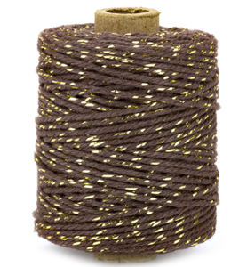 Cotton cord dark brown/gold roll