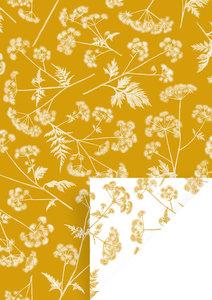 Cadeaupapier Dotted wildflower Okergeel