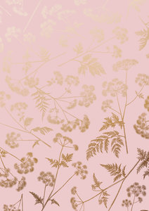 Cadeaupapier Dotted wildflower Pink/gold