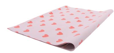 Vloeipapier Handdrawn hearts Lemonade pink + Poppy red