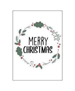 Ansichtkaart Merry Christmas (krans)