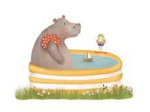 Wenskaart Nijlpaard in bad